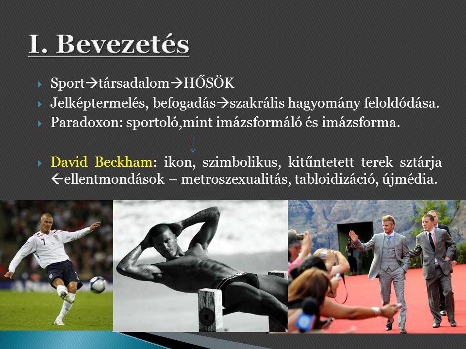  Sport  társadalom  HŐSÖK  Jelképtermelés, befogadás  szakrális hagyomány feloldódása.  Paradoxon: sportoló,mint imázsformáló és imázsforma.  D