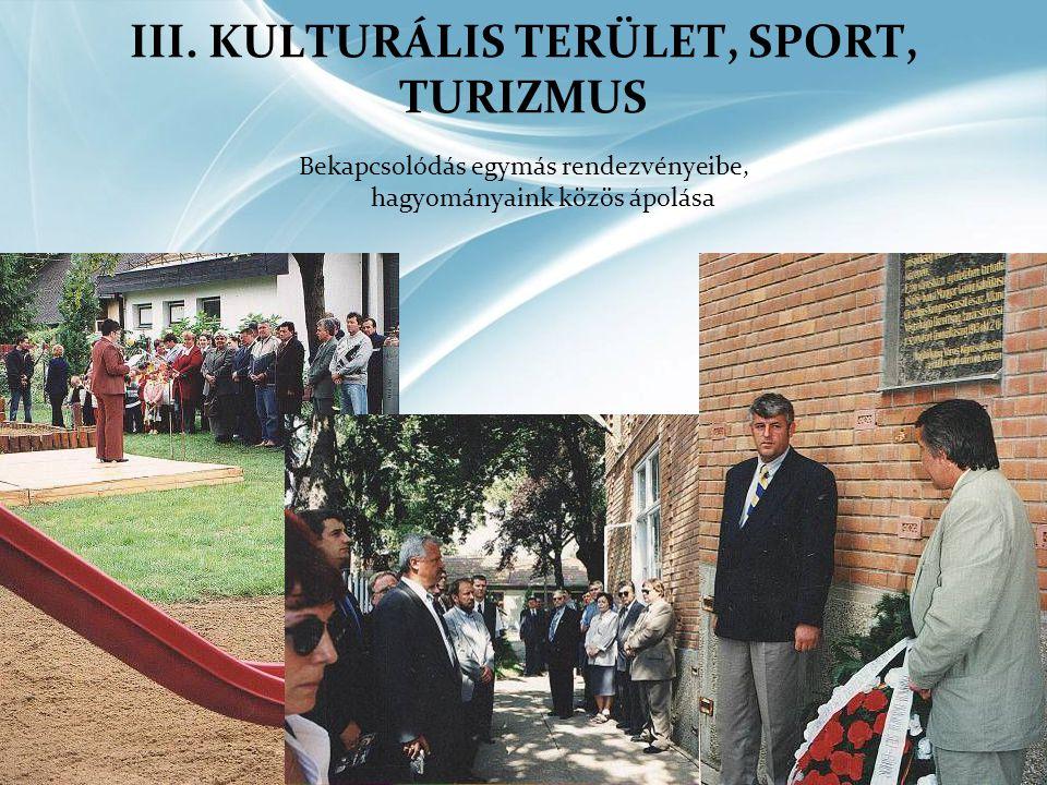 III. KULTURÁLIS TERÜLET, SPORT, TURIZMUS Bekapcsolódás egymás rendezvényeibe, hagyományaink közös ápolása
