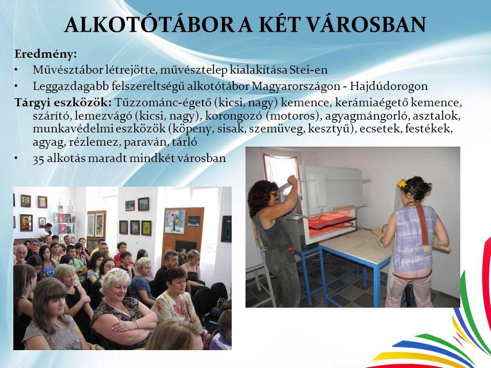 ALKOTÓTÁBOR A KÉT VÁROSBAN Eredmény: •Művésztábor létrejötte, művésztelep kialakítása Stei-en •Leggazdagabb felszereltségű alkotótábor Magyarországon