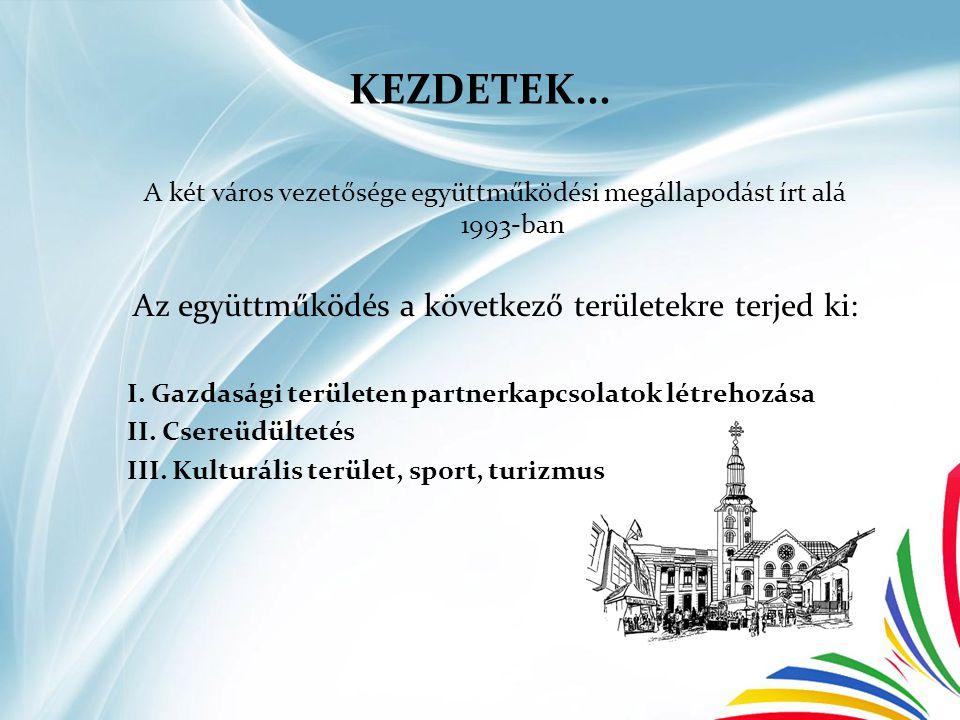 KEZDETEK... A két város vezetősége együttműködési megállapodást írt alá 1993-ban Az együttműködés a következő területekre terjed ki: I. Gazdasági terü