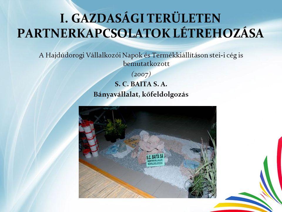 I. GAZDASÁGI TERÜLETEN PARTNERKAPCSOLATOK LÉTREHOZÁSA A Hajdúdorogi Vállalkozói Napok és Termékkiállításon stei-i cég is bemutatkozott (2007) S. C. BA