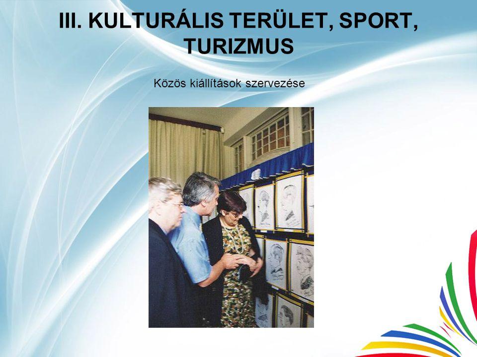 III. KULTURÁLIS TERÜLET, SPORT, TURIZMUS Közös kiállítások szervezése