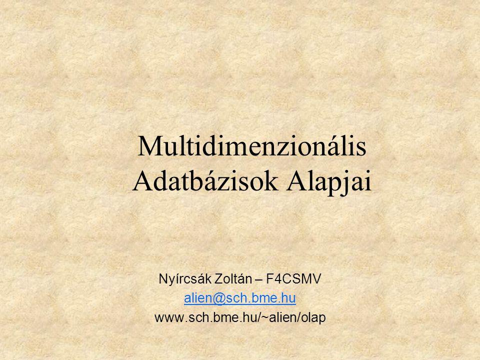 Multidimenzionális Adatbázisok Alapjai Nyírcsák Zoltán – F4CSMV alien@sch.bme.hu www.sch.bme.hu/~alien/olap