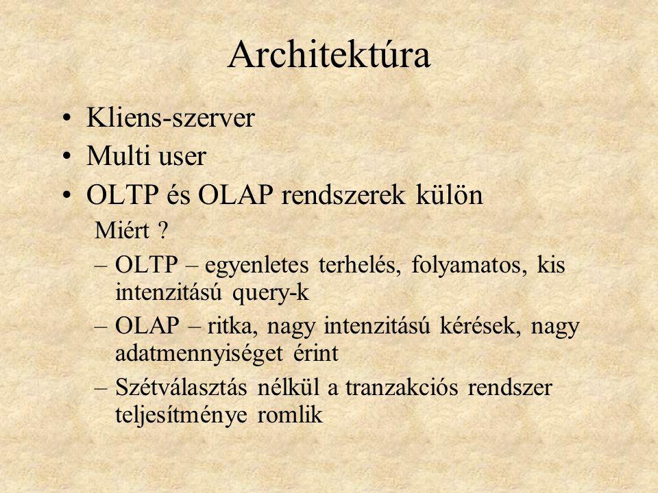 Architektúra •Kliens-szerver •Multi user •OLTP és OLAP rendszerek külön Miért ? –OLTP – egyenletes terhelés, folyamatos, kis intenzitású query-k –OLAP