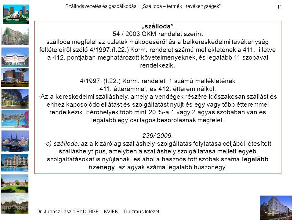 """Dr. Juhász László PhD, BGF – KVIFK – Turizmus Intézet Szállodavezetés és gazdálkodás I. """"Szálloda – termék - tevékenységek"""" 11 """"szálloda"""" 54 / 2003 GK"""