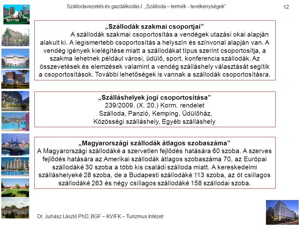 """Dr. Juhász László PhD, BGF – KVIFK – Turizmus Intézet Szállodavezetés és gazdálkodás I. """"Szálloda – termék - tevékenységek"""" 12 """"Szállodák szakmai csop"""