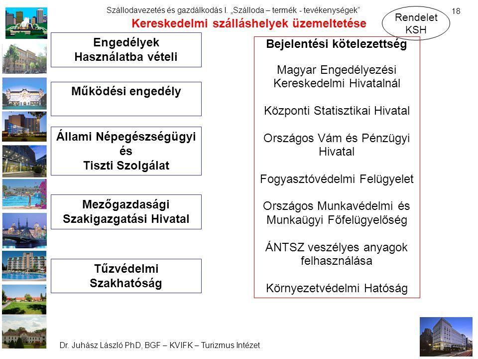 """Dr. Juhász László PhD, BGF – KVIFK – Turizmus Intézet Szállodavezetés és gazdálkodás I. """"Szálloda – termék - tevékenységek"""" 18 Engedélyek Használatba"""