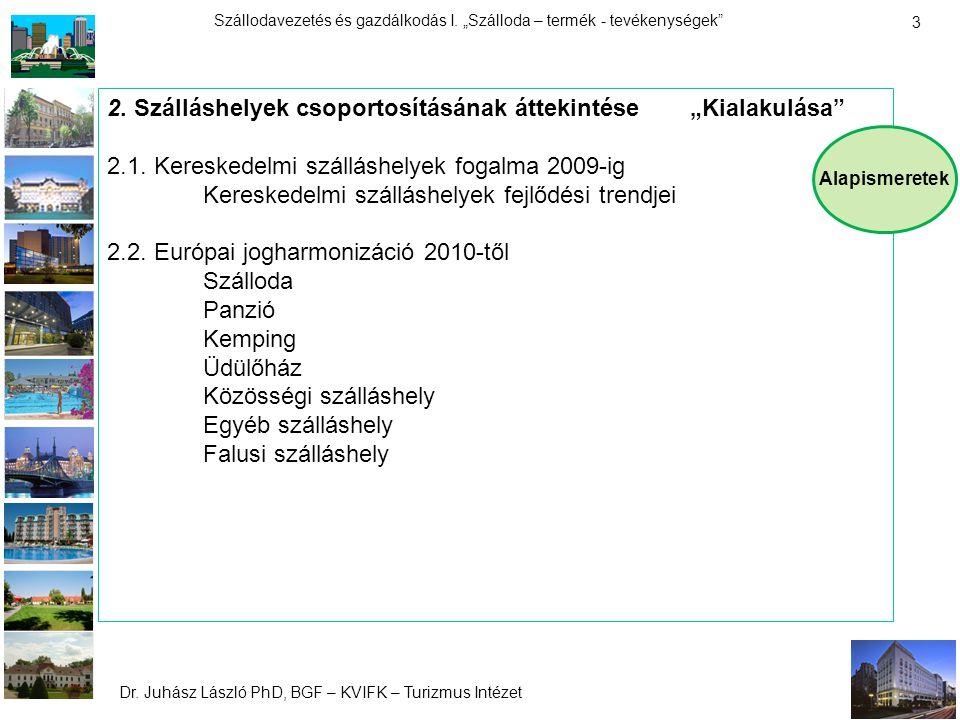 """Dr. Juhász László PhD, BGF – KVIFK – Turizmus Intézet Szállodavezetés és gazdálkodás I. """"Szálloda – termék - tevékenységek"""" 3 2. Szálláshelyek csoport"""