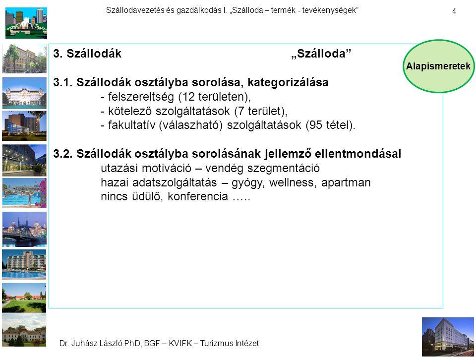 """Dr. Juhász László PhD, BGF – KVIFK – Turizmus Intézet Szállodavezetés és gazdálkodás I. """"Szálloda – termék - tevékenységek"""" 4 3. Szállodák""""Szálloda"""" 3"""