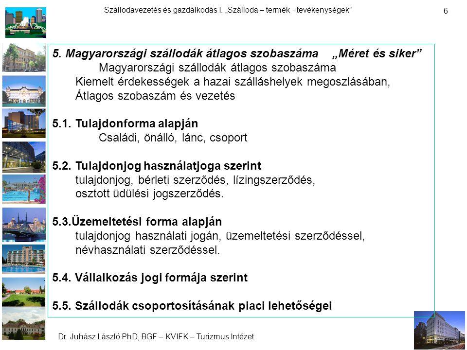 """Dr. Juhász László PhD, BGF – KVIFK – Turizmus Intézet Szállodavezetés és gazdálkodás I. """"Szálloda – termék - tevékenységek"""" 6 5. Magyarországi szállod"""