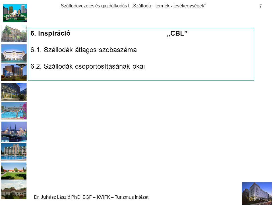 """Dr. Juhász László PhD, BGF – KVIFK – Turizmus Intézet Szállodavezetés és gazdálkodás I. """"Szálloda – termék - tevékenységek"""" 7 6. Inspiráció""""CBL"""" 6.1."""