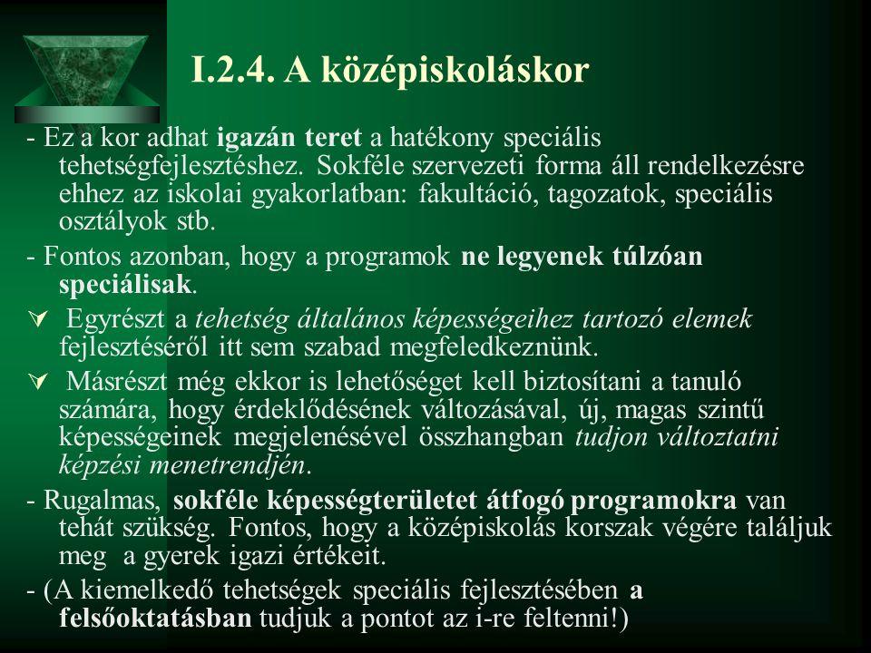 I.2.4. A középiskoláskor - Ez a kor adhat igazán teret a hatékony speciális tehetségfejlesztéshez. Sokféle szervezeti forma áll rendelkezésre ehhez az