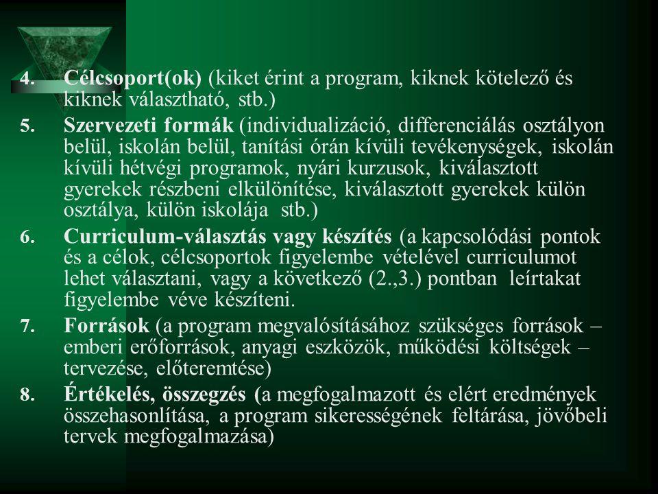4. Célcsoport(ok) (kiket érint a program, kiknek kötelező és kiknek választható, stb.) 5. Szervezeti formák (individualizáció, differenciálás osztályo