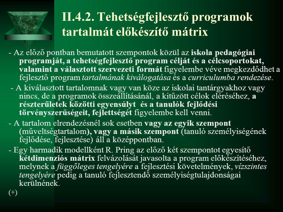 II.4.2. Tehetségfejlesztő programok tartalmát előkészítő mátrix - Az előző pontban bemutatott szempontok közül az iskola pedagógiai programját, a tehe