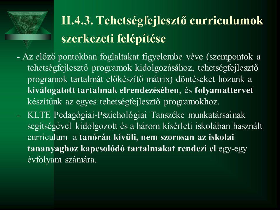 II.4.3. Tehetségfejlesztő curriculumok szerkezeti felépítése - Az előző pontokban foglaltakat figyelembe véve (szempontok a tehetségfejlesztő programo