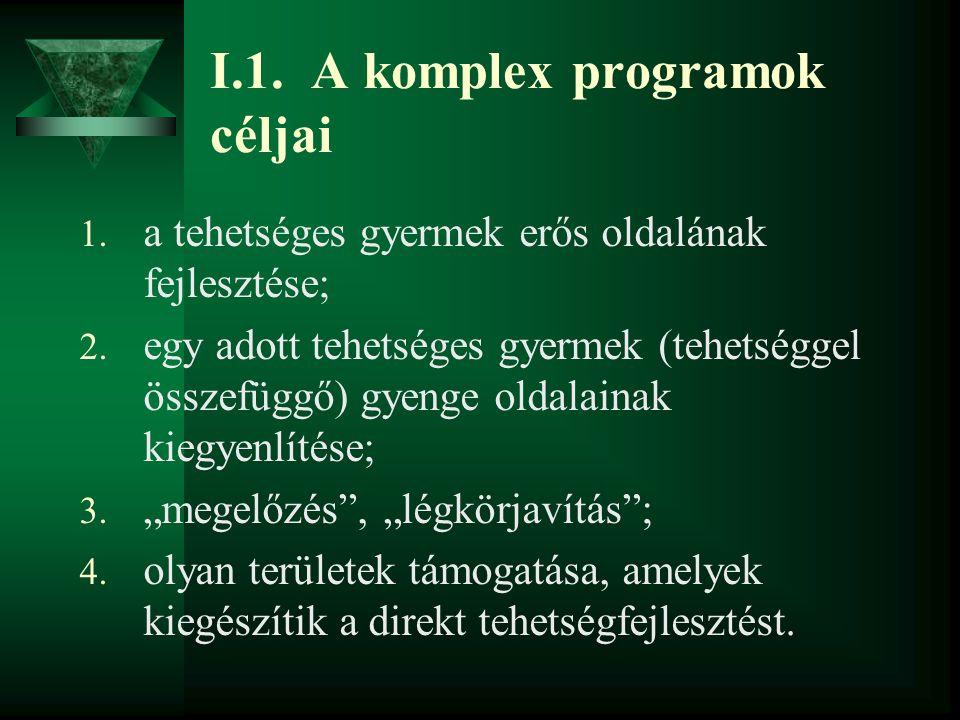 I.1.A komplex programok céljai 1. a tehetséges gyermek erős oldalának fejlesztése; 2.