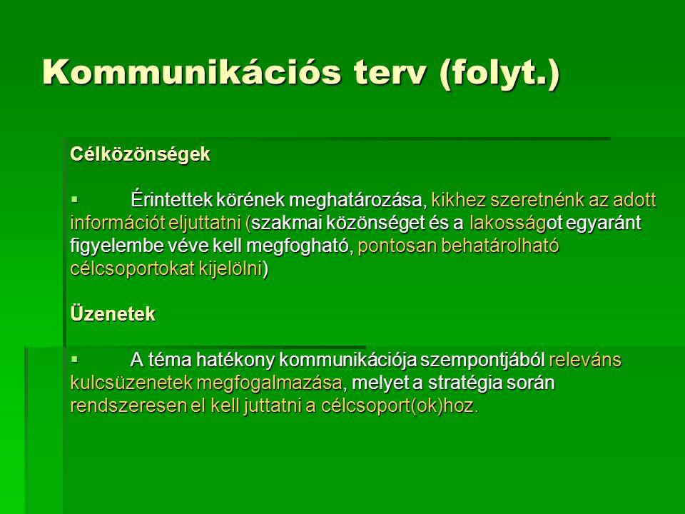 Kommunikációs terv (folyt.) Célközönségek  Érintettek körének meghatározása, kikhez szeretnénk az adott információt eljuttatni (szakmai közönséget és