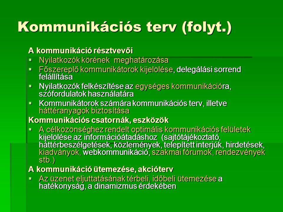 Kommunikációs terv (folyt.) A kommunikáció résztvevői  Nyilatkozók körének meghatározása  Főszereplő kommunikátorok kijelölése, delegálási sorrend f
