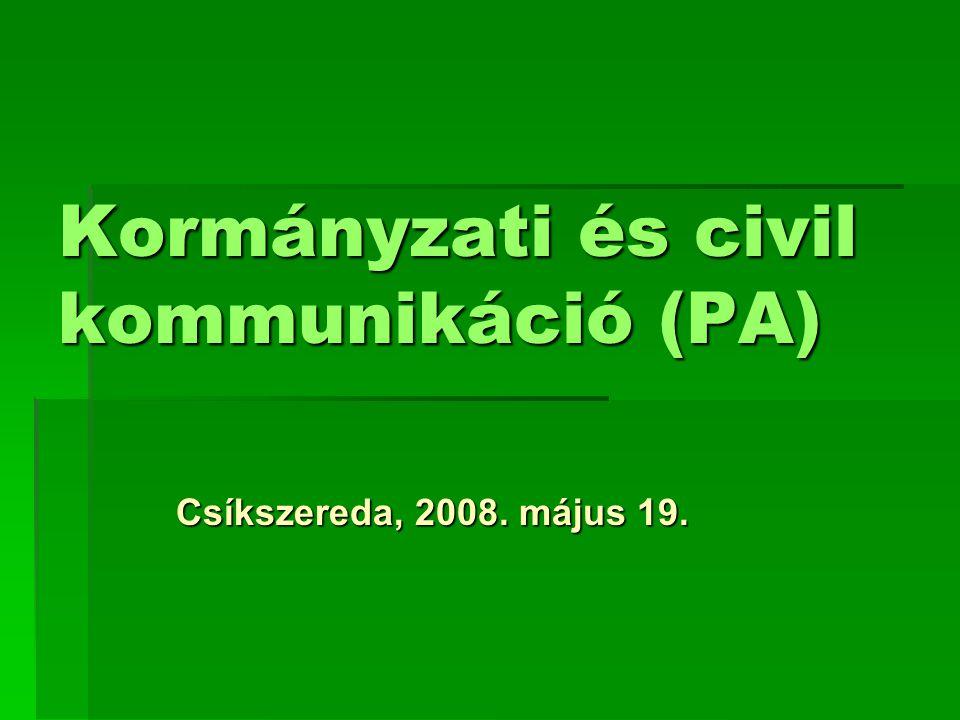 Kormányzati és civil kommunikáció (PA) Csíkszereda, 2008. május 19.