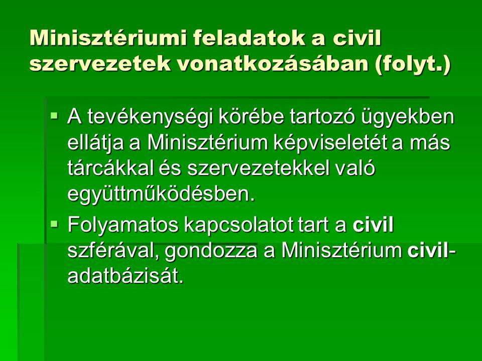 Minisztériumi feladatok a civil szervezetek vonatkozásában (folyt.)  A tevékenységi körébe tartozó ügyekben ellátja a Minisztérium képviseletét a más
