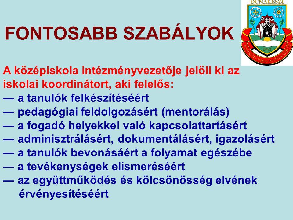 FONTOSABB SZABÁLYOK A középiskola a 9–11.