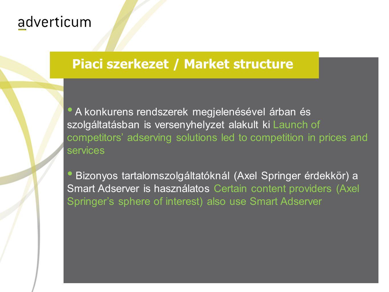 Piaci szerkezet / Market structure • A konkurens rendszerek megjelenésével árban és szolgáltatásban is versenyhelyzet alakult ki Launch of competitors' adserving solutions led to competition in prices and services • Bizonyos tartalomszolgáltatóknál (Axel Springer érdekkör) a Smart Adserver is használatos Certain content providers (Axel Springer's sphere of interest) also use Smart Adserver
