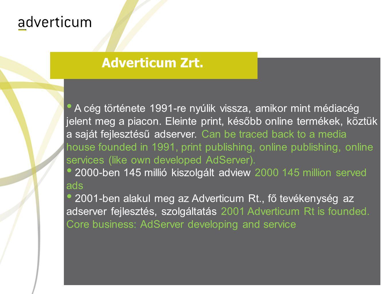 Adverticum Zrt. • A cég története 1991-re nyúlik vissza, amikor mint médiacég jelent meg a piacon.