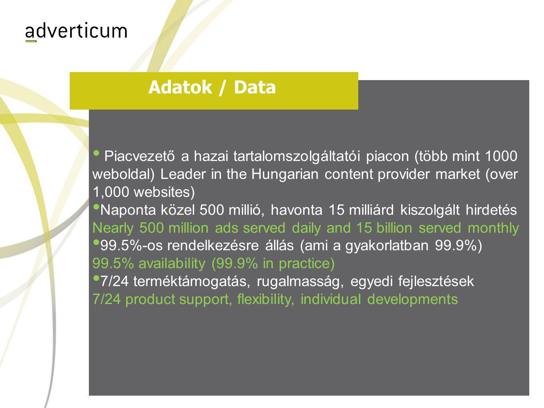 Adatok / Data • Piacvezető a hazai tartalomszolgáltatói piacon (több mint 1000 weboldal) Leader in the Hungarian content provider market (over 1,000 websites) • Naponta közel 500 millió, havonta 15 milliárd kiszolgált hirdetés Nearly 500 million ads served daily and 15 billion served monthly • 99.5%-os rendelkezésre állás (ami a gyakorlatban 99.9%) 99.5% availability (99.9% in practice) • 7/24 terméktámogatás, rugalmasság, egyedi fejlesztések 7/24 product support, flexibility, individual developments