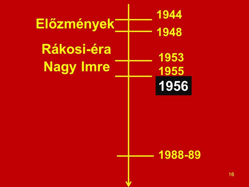Előzmények Rákosi-éra 16 Nagy Imre 1944 1948 1953 1955 1956 1988-89