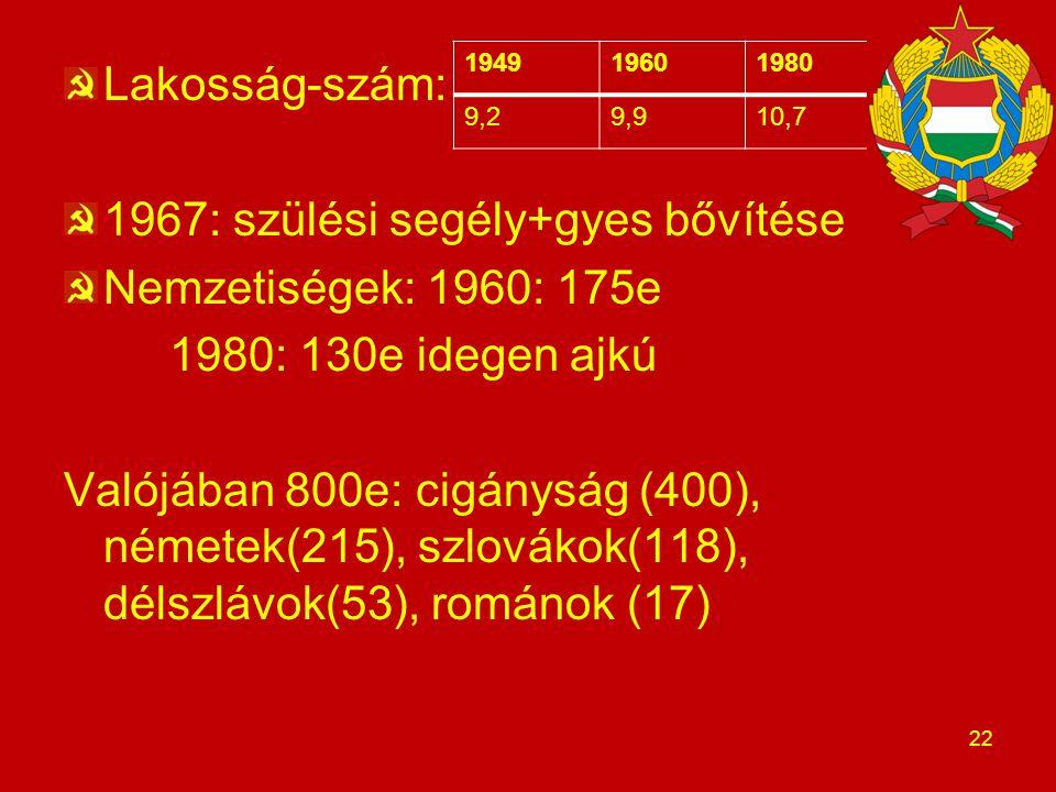 Lakosság-szám: 1967: szülési segély+gyes bővítése Nemzetiségek: 1960: 175e 1980: 130e idegen ajkú Valójában 800e: cigányság (400), németek(215), szlov