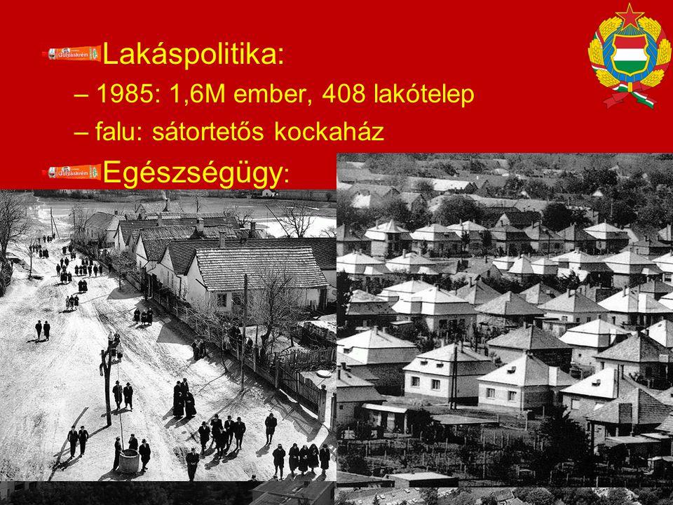 Lakáspolitika: –1985: 1,6M ember, 408 lakótelep –falu: sátortetős kockaház Egészségügy : − táppénzcsalások −Gyes, családi pótlékok  TB terhek 14%/GDP