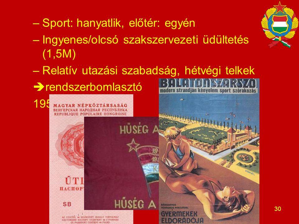 –Sport: hanyatlik, előtér: egyén –Ingyenes/olcsó szakszervezeti üdültetés (1,5M) –Relatív utazási szabadság, hétvégi telkek  rendszerbomlasztó 1957: