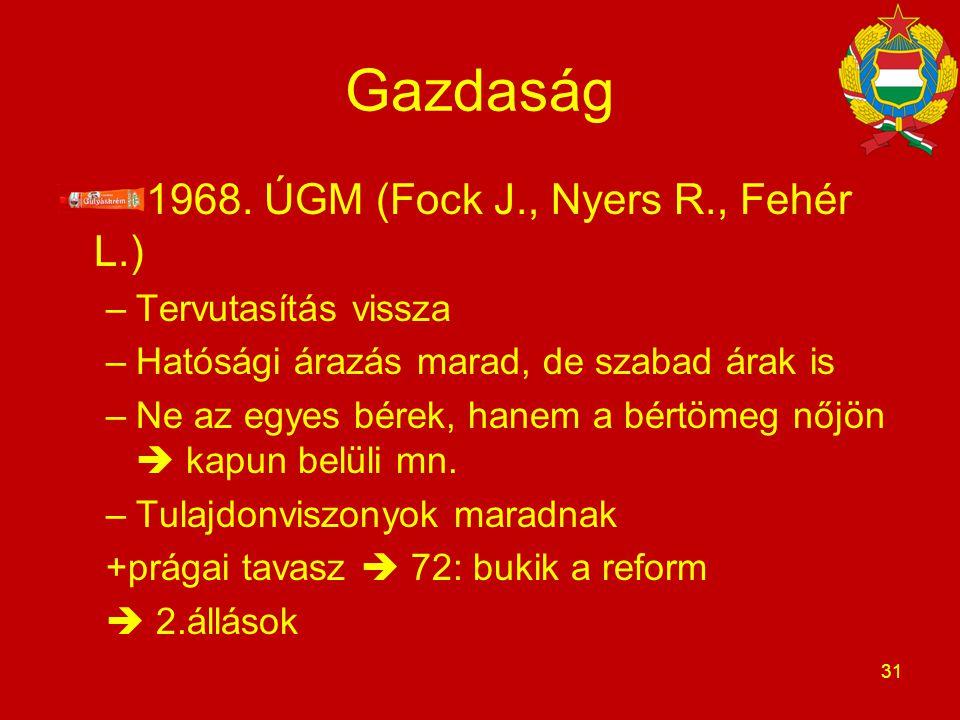 Gazdaság 1968. ÚGM (Fock J., Nyers R., Fehér L.) –Tervutasítás vissza –Hatósági árazás marad, de szabad árak is –Ne az egyes bérek, hanem a bértömeg n