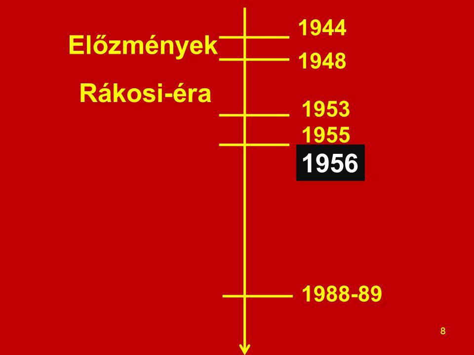 Előzmények Rákosi-éra 8 1944 1948 1953 1955 1956 1988-89