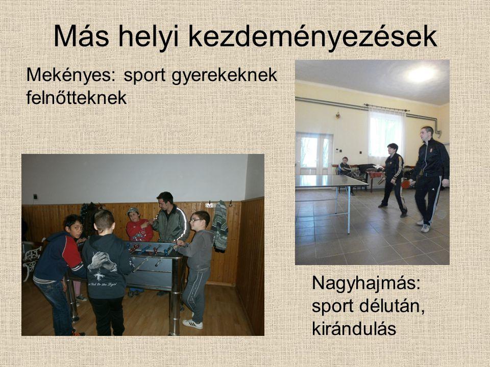 Más helyi kezdeményezések Nagyhajmás: sport délután, kirándulás Mekényes: sport gyerekeknek felnőtteknek
