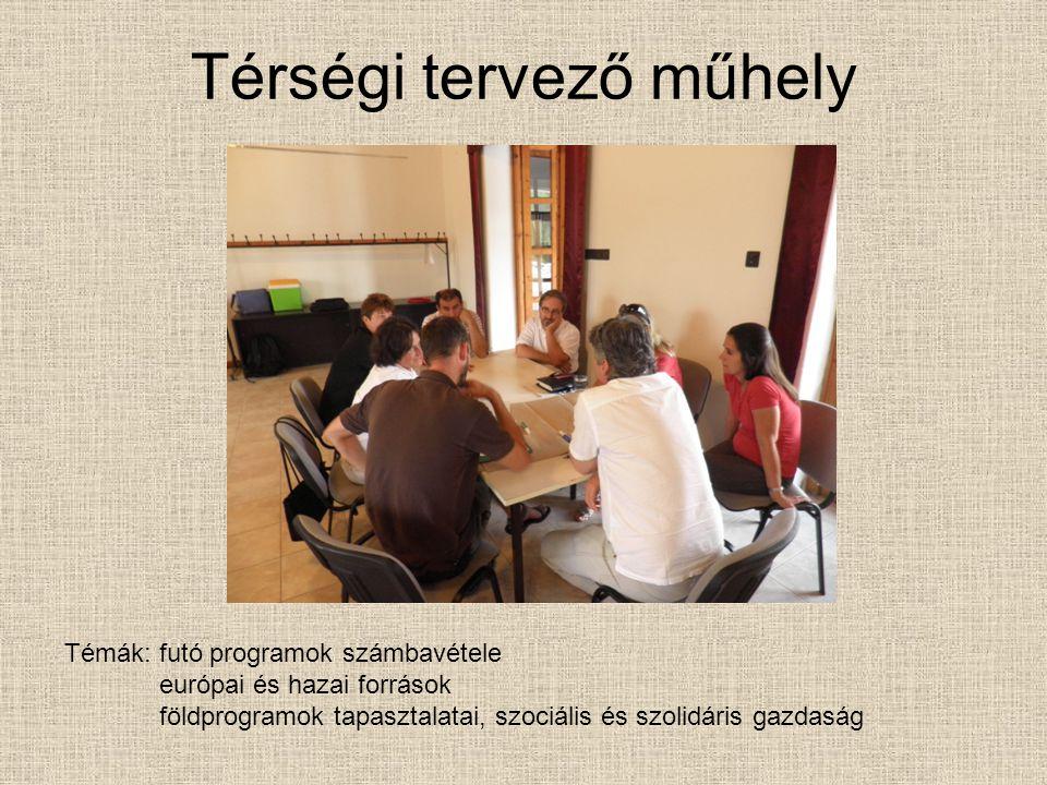 Térségi tervező műhely Témák: futó programok számbavétele európai és hazai források földprogramok tapasztalatai, szociális és szolidáris gazdaság