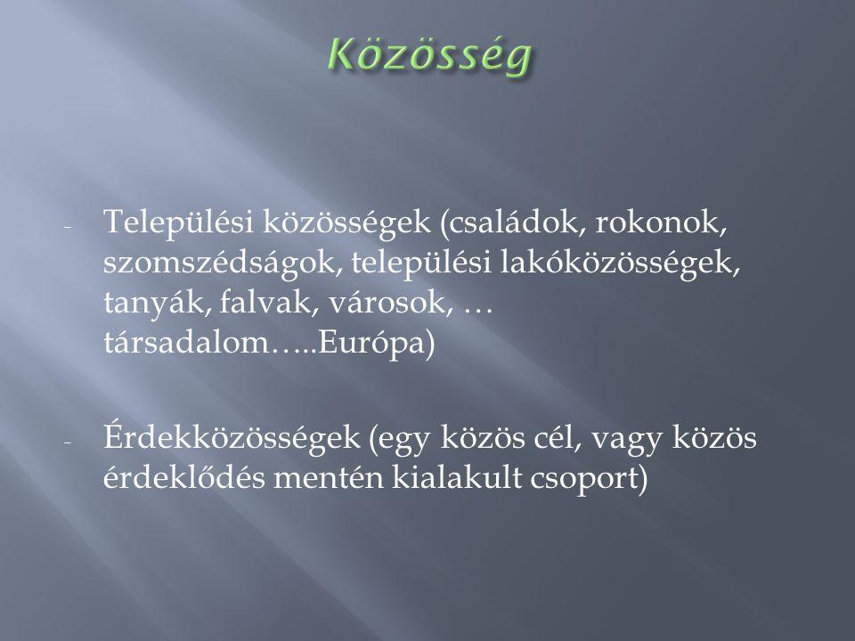 - Települési közösségek (családok, rokonok, szomszédságok, települési lakóközösségek, tanyák, falvak, városok, … társadalom…..Európa) - Érdekközössége