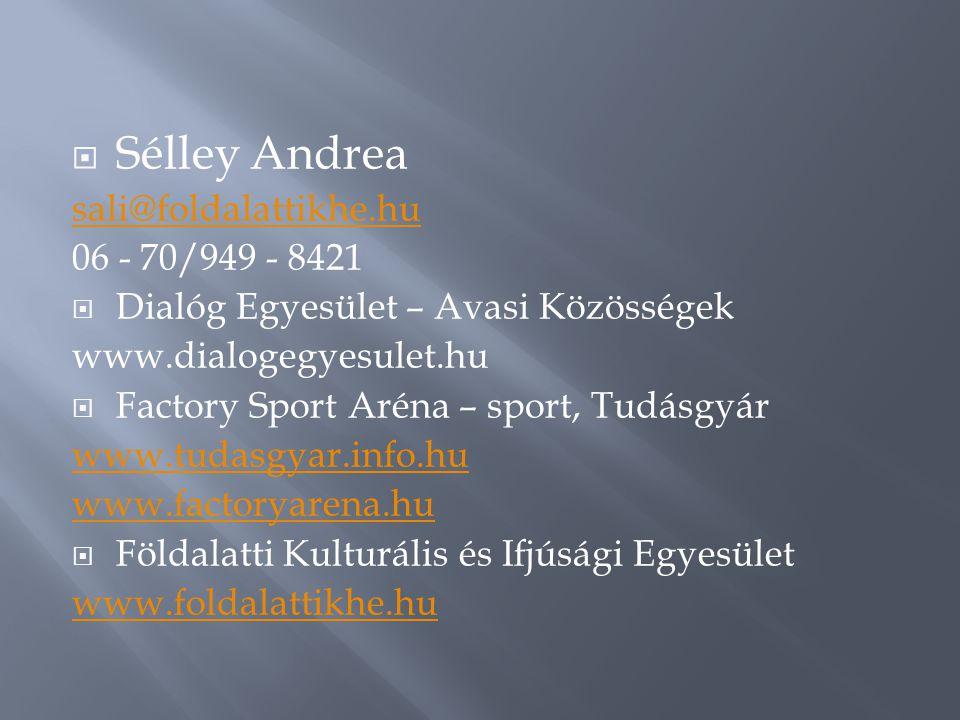  Sélley Andrea sali@foldalattikhe.hu 06 - 70/949 - 8421  Dialóg Egyesület – Avasi Közösségek www.dialogegyesulet.hu  Factory Sport Aréna – sport, Tudásgyár www.tudasgyar.info.hu www.factoryarena.hu  Földalatti Kulturális és Ifjúsági Egyesület www.foldalattikhe.hu