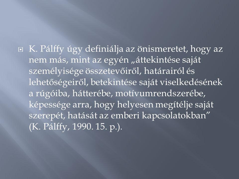 """ K. Pálffy úgy definiálja az önismeretet, hogy az nem más, mint az egyén """"áttekintése saját személyisége összetevőiről, határairól és lehetőségeiről,"""