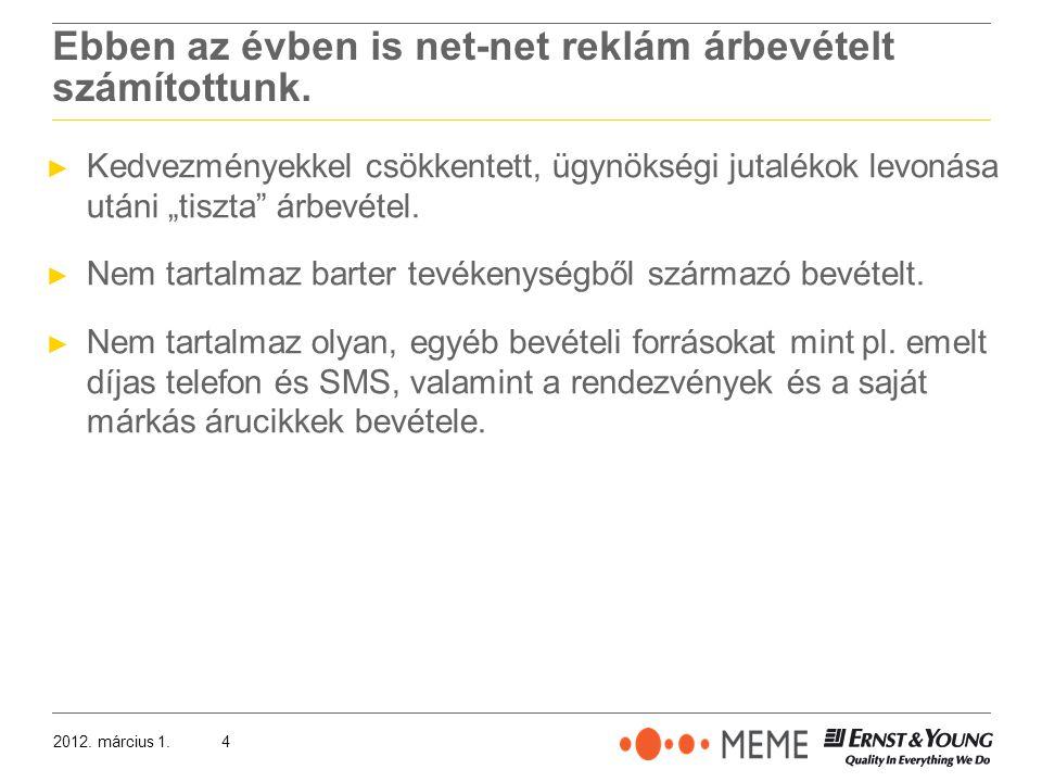 2012. március 1.4 Ebben az évben is net-net reklám árbevételt számítottunk.