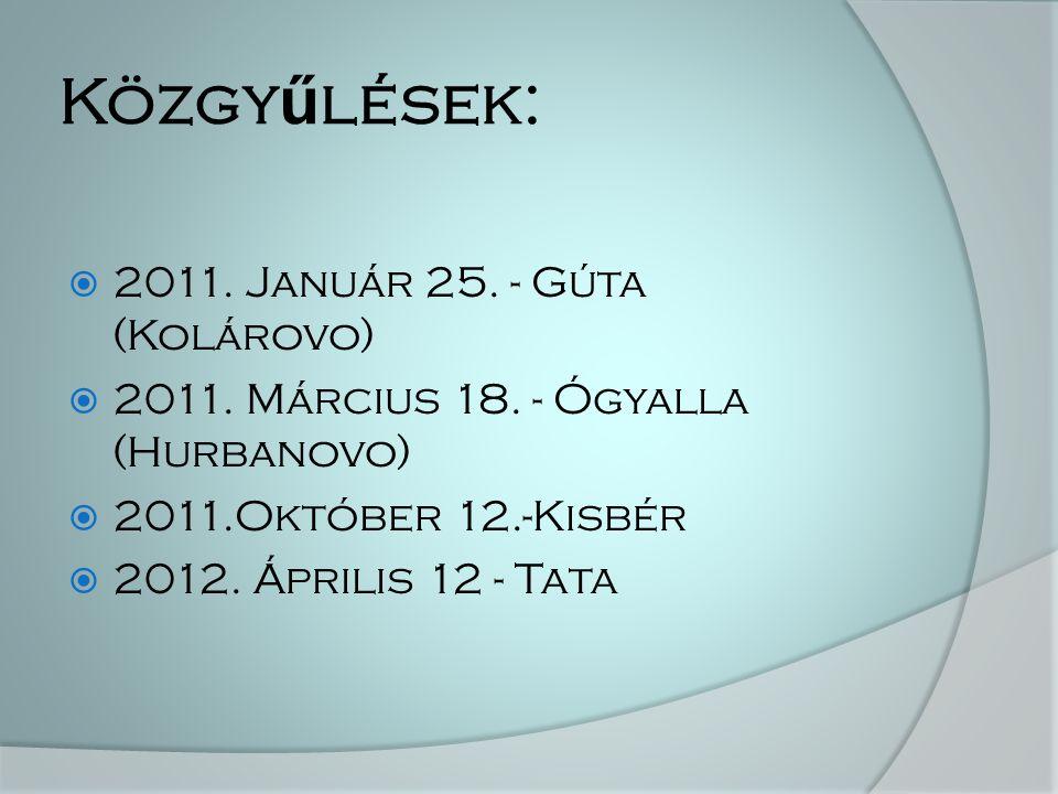 Közgy ű lések:  2011. Január 25. - Gúta (Kolárovo)  2011.