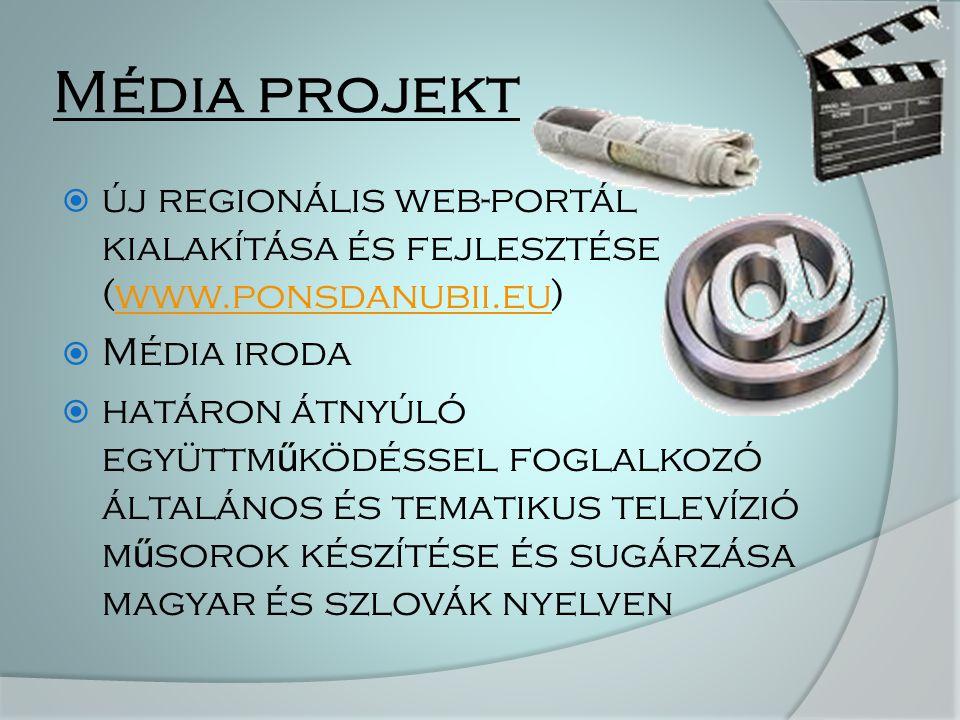 Média projekt  új regionális web-portál kialakítása és fejlesztése (www.ponsdanubii.eu)www.ponsdanubii.eu  Média iroda  határon átnyúló együttm ű ködéssel foglalkozó általános és tematikus televízió m ű sorok készítése és sugárzása magyar és szlovák nyelven