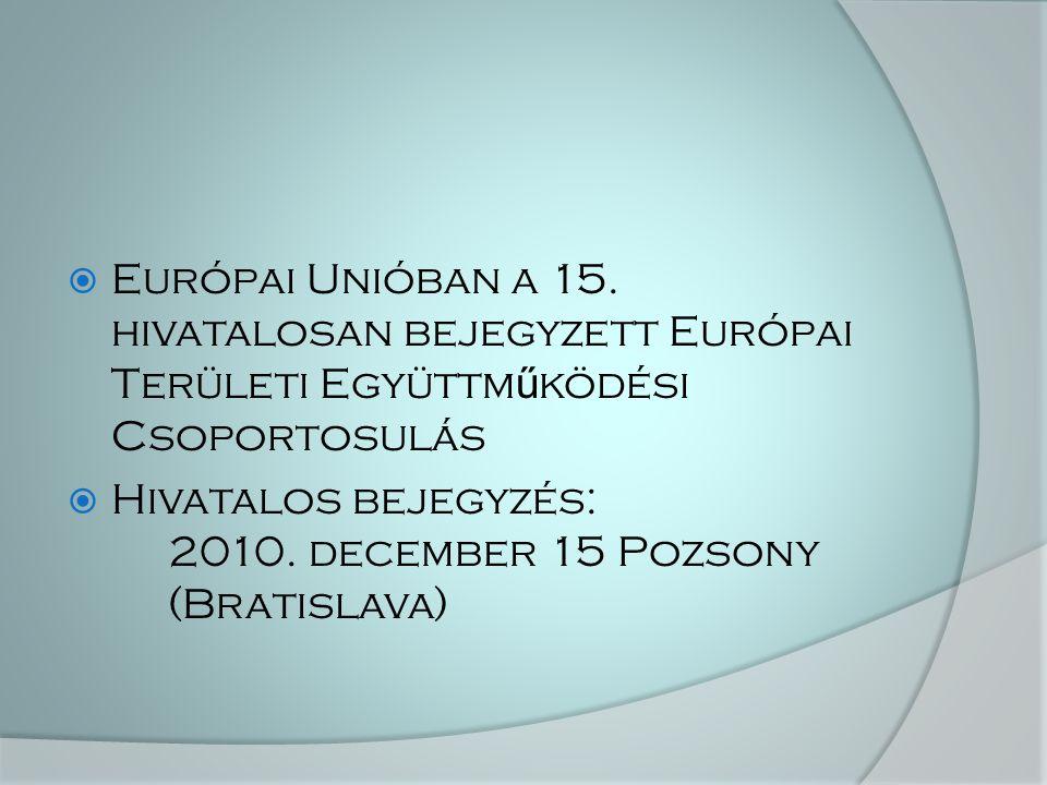  Európai Unióban a 15. hivatalosan bejegyzett Európai Területi Együttm ű ködési Csoportosulás  Hivatalos bejegyzés: 2010. december 15 Pozsony (Brati