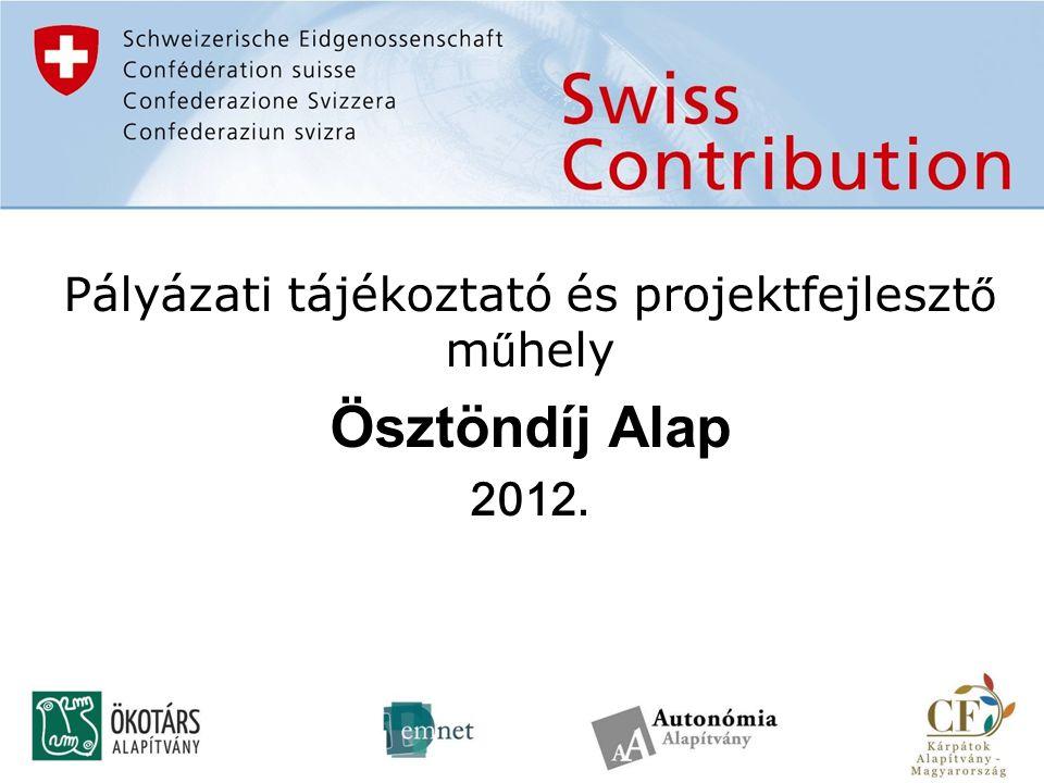 Pályázati tájékoztató és projektfejleszt ő m ű hely Ösztöndíj Alap 2012.