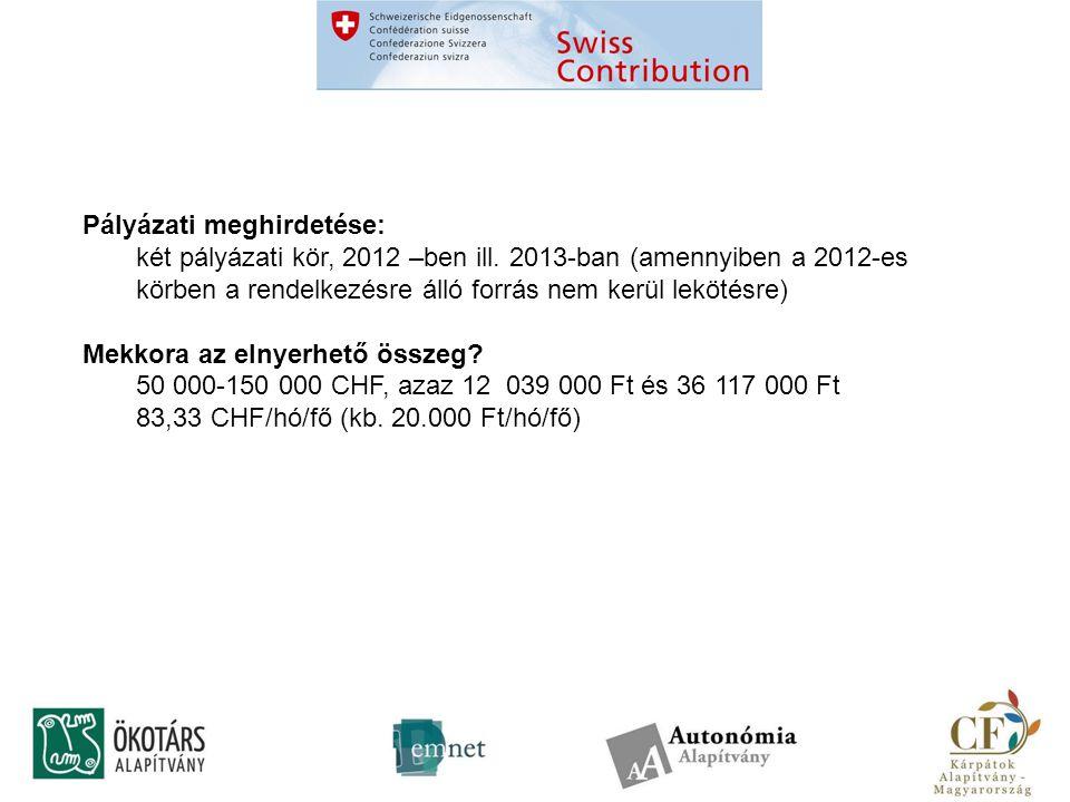 Pályázati meghirdetése: két pályázati kör, 2012 –ben ill.