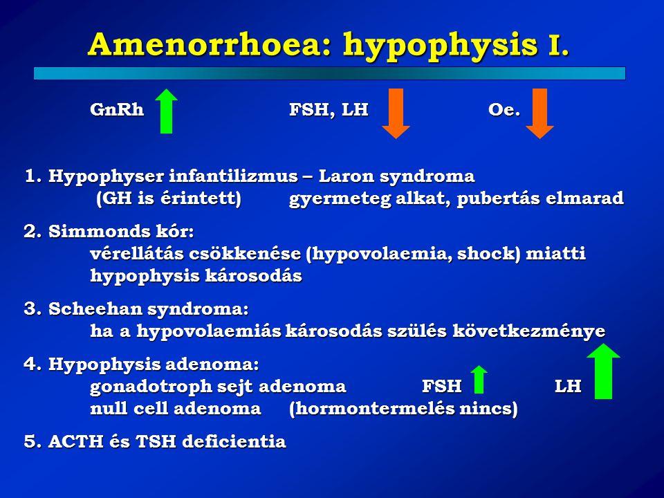 Amenorrhoea: hypophysis I. GnRhFSH, LH Oe. 1. Hypophyser infantilizmus – Laron syndroma (GH is érintett)gyermeteg alkat, pubertás elmarad 2. Simmonds