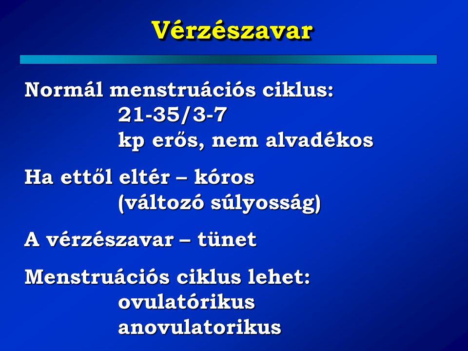 Normál menstruációs ciklus: 21-35/3-7 kp erős, nem alvadékos Ha ettől eltér – kóros (változó súlyosság) A vérzészavar – tünet Menstruációs ciklus lehe