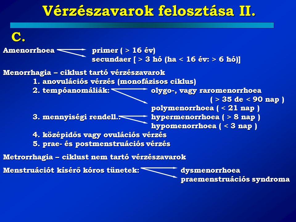Vérzészavarok felosztása II. C. Amenorrhoea primer ( > 16 év) secundaer [ > 3 hó (ha 6 hó)] Menorrhagia – ciklust tartó vérzészavarok 1. anovulációs v