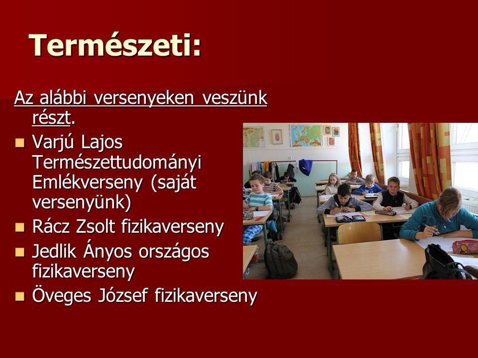 """Nyelvészeti:  Emelt szintű idegennyelv-oktatás (angol, német) csoportbontásban  Alapfokú nyelvvizsgák  Szakkör keretében felkészítjük végzős tanulóinkat a sikeres továbbtanulásra  Chrismass, Weichnachten című idegen nyelvi projekt  Halloveen angol nyelvi kisprojekt  A társintézmények szervezésében - foglalkozások, előadások, rendezvények  DLL digitális nyelvi laboratórium létrehozása  """"Adventtől karácsonyig című projekt  Farsangi népszokások című témanap  Műfordító verseny  Magyar Kultúra Napja és Költészet Napja című projekt  Ovi-suli munkaközösség  A beiskolázási program keretében Szivárvány délután  Aranyélet iskolaújság"""