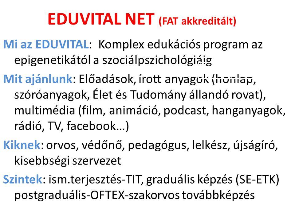 EDUVITAL NET (FAT akkreditált) Mi az EDUVITAL: Komplex edukációs program az epigenetikától a szociálpszichológiáig Mit ajánlunk: Előadások, írott anya
